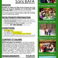 ANIMATEUR H/F  Décembre 2020 (Vac. scol.) - BAFA non requis